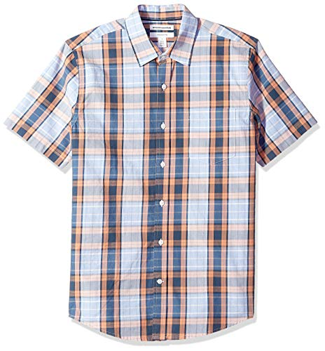 Amazon Essentials Men's Slim-Fit Short-Sleeve Plaid Casual Poplin Shirt, Coral/Navy, Small