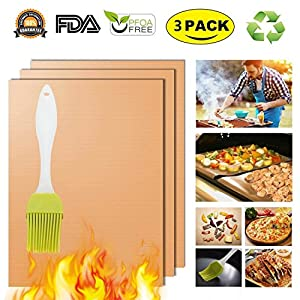 Copper Grill Mat Oven Liners BBQ Baking Mats - 100% Non Stick Best Grill Mats for Charcoal Electric Gas Grills Reusable and Easy to Clean Accessories - FDA Approved PFOA Free Set of 3