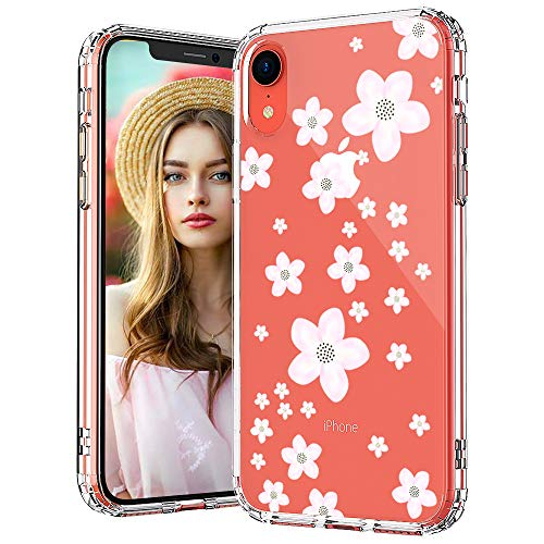 MOSNOVO iPhone XR Case, Clear iPhone XR Case, Pink Cherry Blossom Floral Flower Pattern Clear Design Transparent Plastic Hard Back Case with Soft TPU Bumper Protective Case Cover for Apple iPhone XR