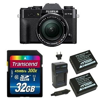 Fujifilm X-T10 Black Mirrorless Digital Camera Kit with XF 18-55mm F2.8-4.0 R LM OIS Lens Deluxe Bundle