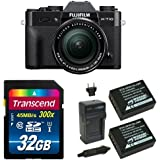 Fujifilm X-T10 Black Mirrorless Digital Camera Kit with XF 18-55mm F2.8-4.0 R LM OIS Lens Deluxe Bundle