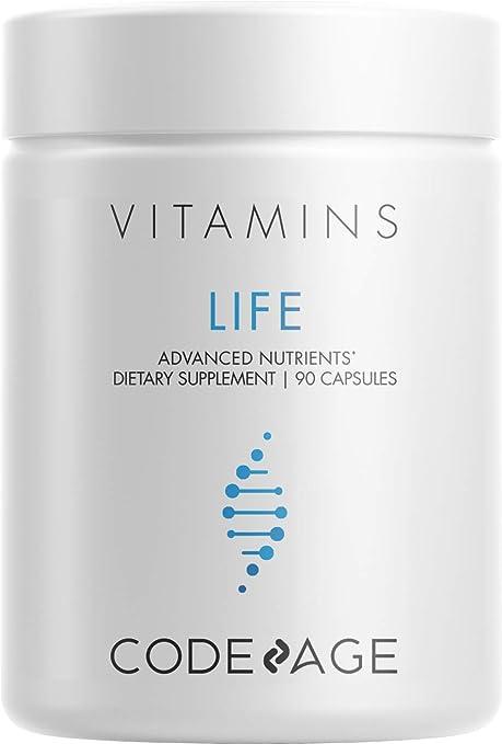 Codeage Life Telomere Supplements - 5 MTHF Folate Vitamin B9, Vitamin B12 Methylcobalamin, Vitamin D3, L-Theanine - Ashwagandha, Astragalus - DNA, Methylation Cycle - Non- GMO - 90 Capsules
