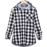 Triskye Womens Hooded Winter Warm Coats Cardigan Parkas Plaid Overcoat Ladies Outwear Lightweight Jackets with Pockets