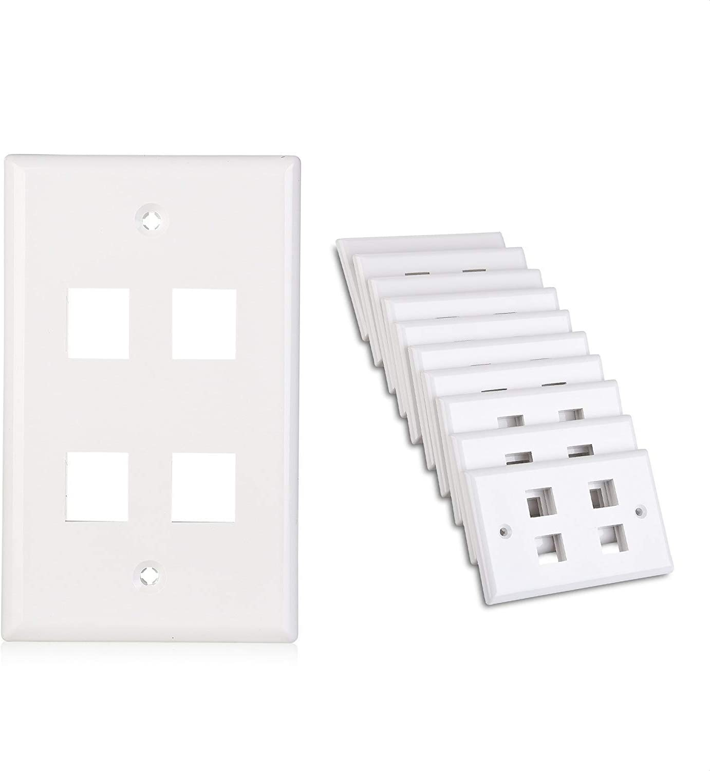 Cable Matters 10-Pack Low Profile 4-Port Cat5e, Cat6 Keystone Jack Wall Plate in White