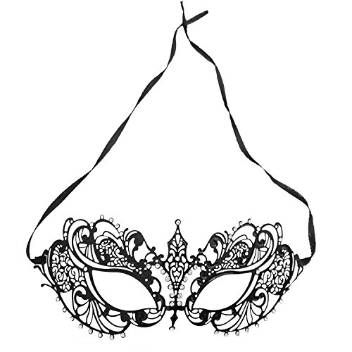 Women's Laser Cut Metal Venetian Pretty Masquerade Ball Party Mask Costume Accessory (Black) -