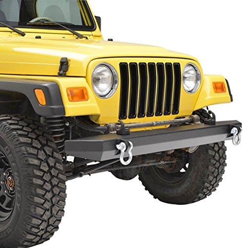 E-Autogrilles 51-0007 Black Front Bumper (87-06 Jeep Wrangler TJ/YJ  Textured Off Road) (Jeep Bumper Yj compare prices)