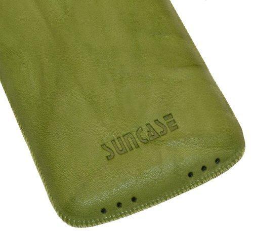 Original Suncase Echt Ledertasche (Lasche mit Rückzugfunktion) für iPhone 4 / iPhone 4S in wash-grün