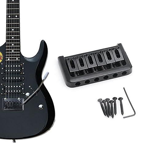6 cuerdas de la guitarra eléctrica Puente duro superior de la cola de carga fija partes cola duros Negro: Amazon.es: Instrumentos musicales