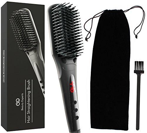 Hair Straightening Brush - Ceramic Iron Bristles Heat Brush Straightener - Frizz-Free - Electric Flat Hair Straightening Brush - Anti Scald - Adjustable Temperature - LCD Display