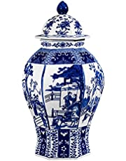 Chinese Ceramic Ginger Jar Traditonal Blue and White Porcelain Temple Jar for Home Decoration, Qing Seal from Jingdezhen,1Vase Only (People)