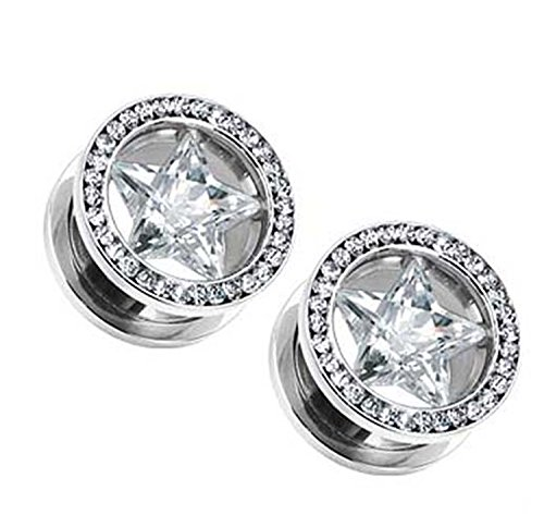 (0 G) Silver Star Ear Plugs - Cubic Zirconia Screw On Tunnel Plugs w/ Star CZ Multi-Gemmed Rim 1 Pair - Gemmed Star