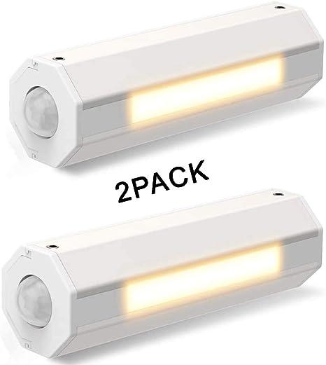 Morpilot 2pcs Luces de Escaleras/Luces Debajo de Los Armarios/Luz de Noche LED con Sensor de Movimiento, Stick-Anywhere/AA Alimentado por Batería (Batería no Incluida): Amazon.es: Iluminación