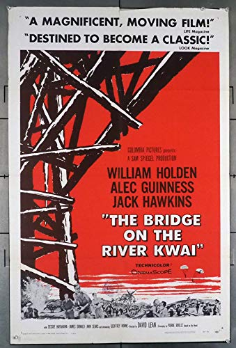 The Bridge On The River Kwai (1957) Original U.S. One-Sheet Movie Poster 27x41 Folded WILLIAM HOLDEN ALEC GUINNESS JACK HAWKINS SESSUE HAYAKAWA Film directed by DAVID LEAN
