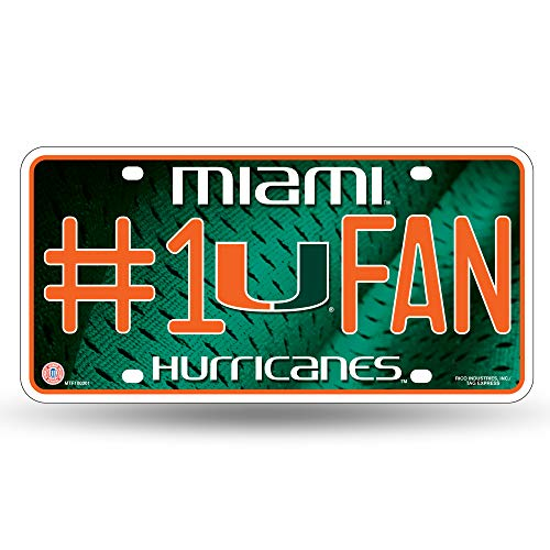 NCAA Miami Hurricanes #1 Fan Metal License Plate ()