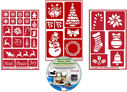 Christmas Stencil (3) Pack, Over N Over Reusable + How to Etch CD