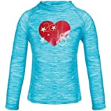 DUSISHIDAN Girls Long Sleeve Rash Guards 1-14 Years, UPF 50+ Sun Protection Swim Shirt