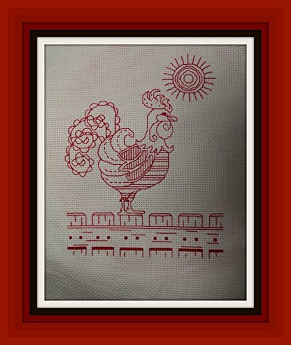 Completed Cross Stitch Redwork Rooster - Home Kitchen Decor **Free Shipping in the USA** Vintage - Ready to Ship