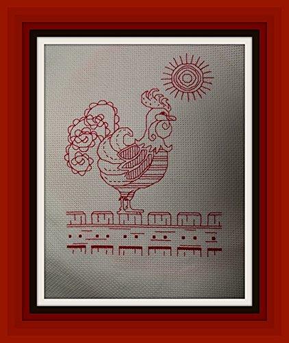 Redwork Rooster - 1