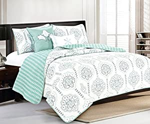 Cassidy Collection 5-Piece Quilt Set with Shams and Decorative Pillows. Soft All-Season Microfiber Bedspread and Coverlet with Printed Pattern By Home Fashion Designs Brand. (Full/Queen, Harbor Grey)