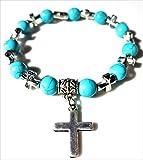 NickAngelo's Christian Cross Pendant Bracelet Elegant Fashion Jewelry Vintage Look Versatile Design Created Turquoise