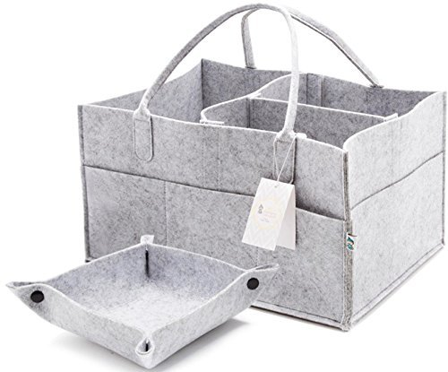 Little Tinkers World Baby Diaper Caddy & Extra Large Organizer for Diapers, Wipes & Nursery Storage Bin Unisex Design - Gray
