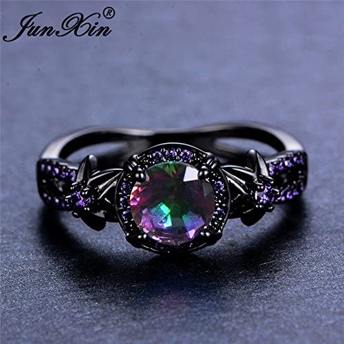 3.6Ct White Fire Opal 925 Silver Black Gold Filled Wedding Party Ring Size 6-10