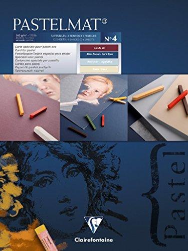 Clairefontaine 96110C Pastelmat Pad (Card for Pastel), 18x24cm, Dark, Light Blue, Wine, Sand, 18 x 24 cm, Assorted Colours