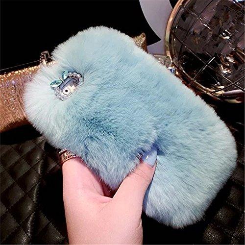 ZTE Blade Spark Case, ZTE Grand X 4 Case, ZTE Grand X4 Case, Mellonlu Luxury Furry Soft Warm Rabbit Fur Protective Case Cover for ZTE Grand X4 Z956 / ZTE Blade Spark Z971 (Blue) ()