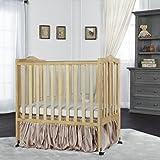 Natural Solid Pine Locking Wheels Folding Crib