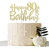 MaiCaiffe Gold Glitter Happy 80th Birthday Cake Topper,Hello 80, Cheers to 80 Years,80 & Fabulous Party Decoration