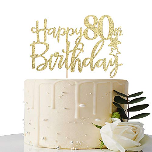 MaiCaiffe Gold Glitter Happy 80th Birthday Cake Topper,Hello 80, Cheers to 80 Years,80 & Fabulous Party Decoration -
