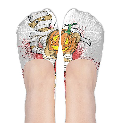 Boy In A Halloween Costume With A Pumpking Womens Ankle Invisible Low-Cut Sock With Anti-Slip Grip | Socks Of Hidden Flat Boat Line