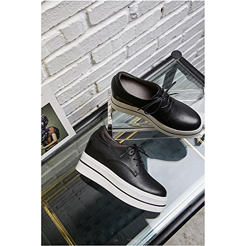 Mujer Moda WSXY Zapatos KJJDE Casual Plataforma Loafers A1413 Mujeres negro con xgqYwqpF