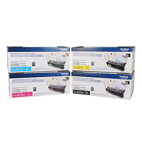 Genuine Brother TN433BK TN433C TN433M TN433Y High Yield Color Toner Cartridge 4-Pack