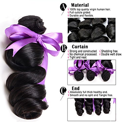 Loose Wave Brazilian Hair 8A Brazilian Loose Wave 3 Bundles Unprocessed Human Hair Extensions Mink Hair Bundles Wet and Wavy Human Hair Natural Black (20'' 22'' 24'') by Shireen Hair (Image #5)