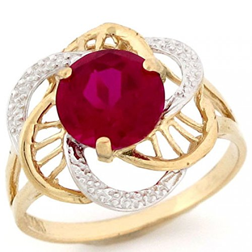 10k Two Tone Gold Simulated Ruby July Birthstone Ring ()