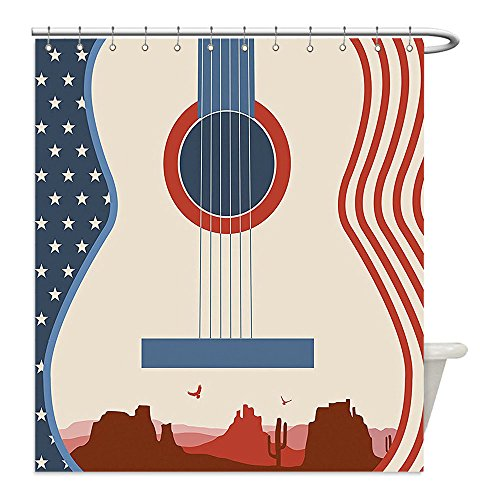 Current Event Costume Ideas (Liguo88 Custom Waterproof Bathroom Shower Curtain Polyester Music Decor Country Music Festival Event Illustration Guitar With American Flag Design Inspiration Decor Cream Red Blue Decorative bathro)