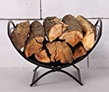 Patio Watcher Small Decorative Folding Log Bin Firewood Rack Log Rack Firewood Storage Log Holder for Indoor Outdoor Backyard Fireplace, Heavy Duty Steel Black