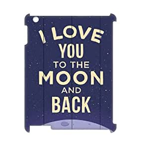wugdiy New Fashion Cover 3D Case for iPad2,3,4 with custom I love you to the moon and back