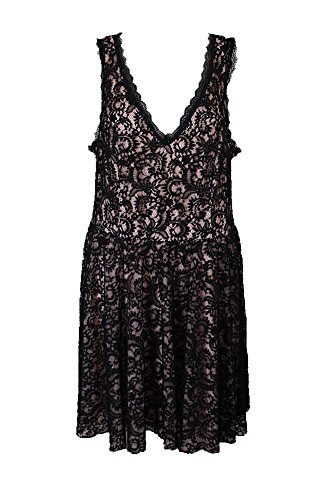 Womens Plus Lace Sleeveless Party Dress Black 22W