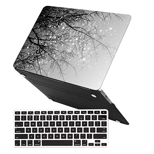 MacBook Air 13 Inch Case (Release 2010-2017 Older Version),iCasso Rubber Coated Soft Touch Hard Case with Keyboard Cover Only Compatible MacBook Air 13 Inch (Model:A1369/A1466), Gray Tree