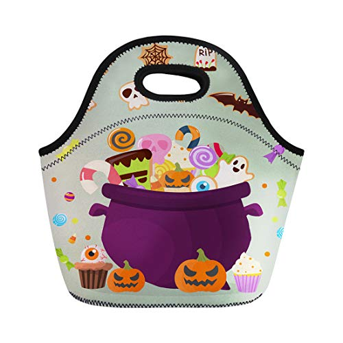 Semtomn Neoprene Lunch Tote Bag Halloween Party Cauldron Colorful Sweets Cupcakes Lollipops Jelly Beans Reusable Cooler Bags Insulated Thermal Picnic Handbag for Travel,School,Outdoors,Work for $<!--$13.90-->