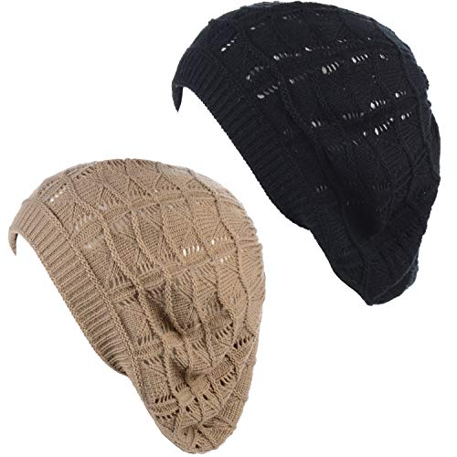BYOS Chic Parisian Style Soft Lightweight Crochet Cutout Knit Beret Beanie Hat (2-Pack Wavy Stripes Dark Beige & Black)