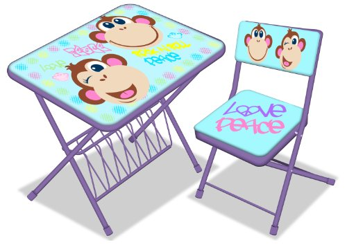 Disney Monkey 3-Piece Activity Desk and Chair Set Children Folding Table And Chairs