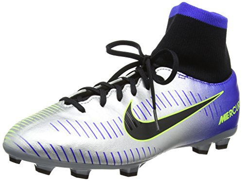 NIKE JR Mercurial VCTRY 6 DF NJR FG Boys Soccer-Shoes 921486-407_6Y - Racer Blue/Black-Chrome-Volt