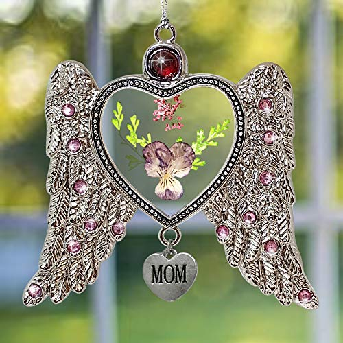 BANBERRY DESIGNS Mom Suncatcher - Angel Wings and Pressed Flowers Sun Catcher - Engraved Heart Charm - Mother- Gift for Mom