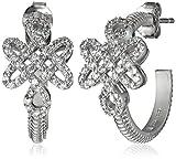Freida Rothman ''Gramercy'' Sterling Silver and Cubic Zirconia Love Knot Hoop Earrings