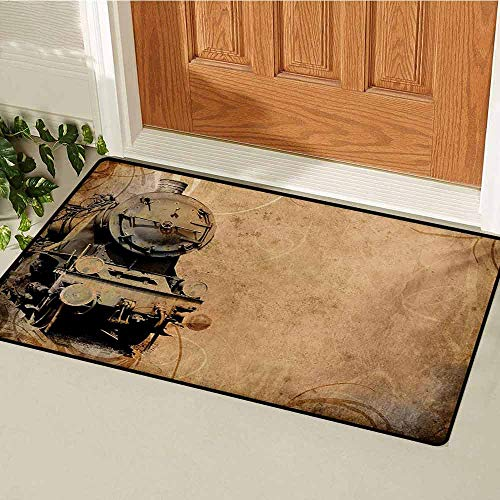 (Steam Engine Commercial Grade Entrance mat Antique Old Iron Train Aged Sepia Grunge Style Design Industrial Theme Artsy Print for entrances garages patios W15.7 x L23.6 Inch Brown)