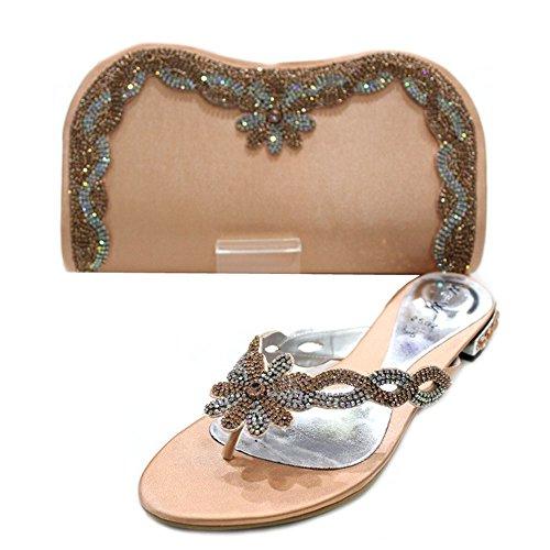 W & W Frauen Damen Kristall mit Schuhe & passender Tasche Größe (Gemz & Tango) Pfirsichfarben