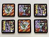 New Romero Britto Coasters Cocktail Martini Set of